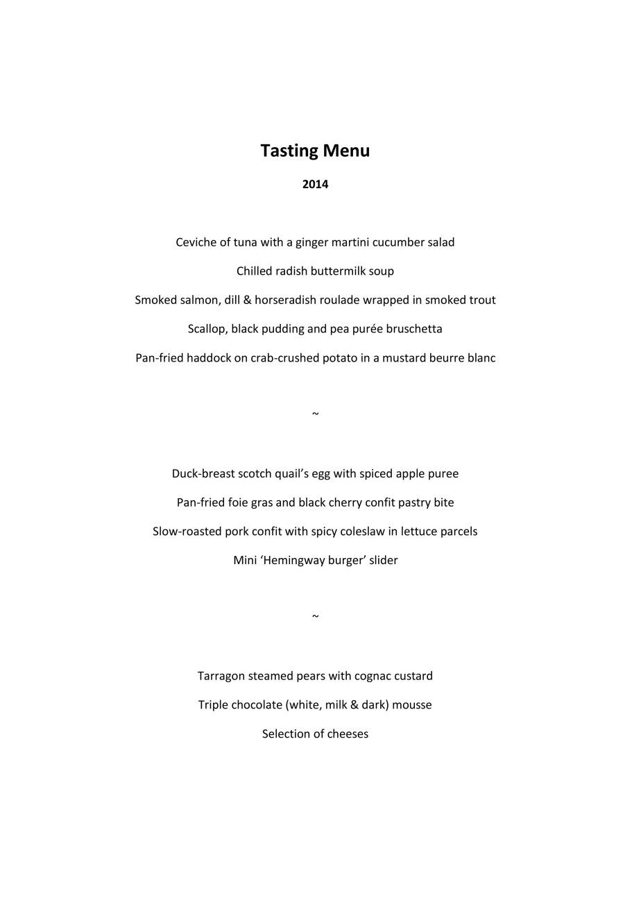 Tasting Menu 2014
